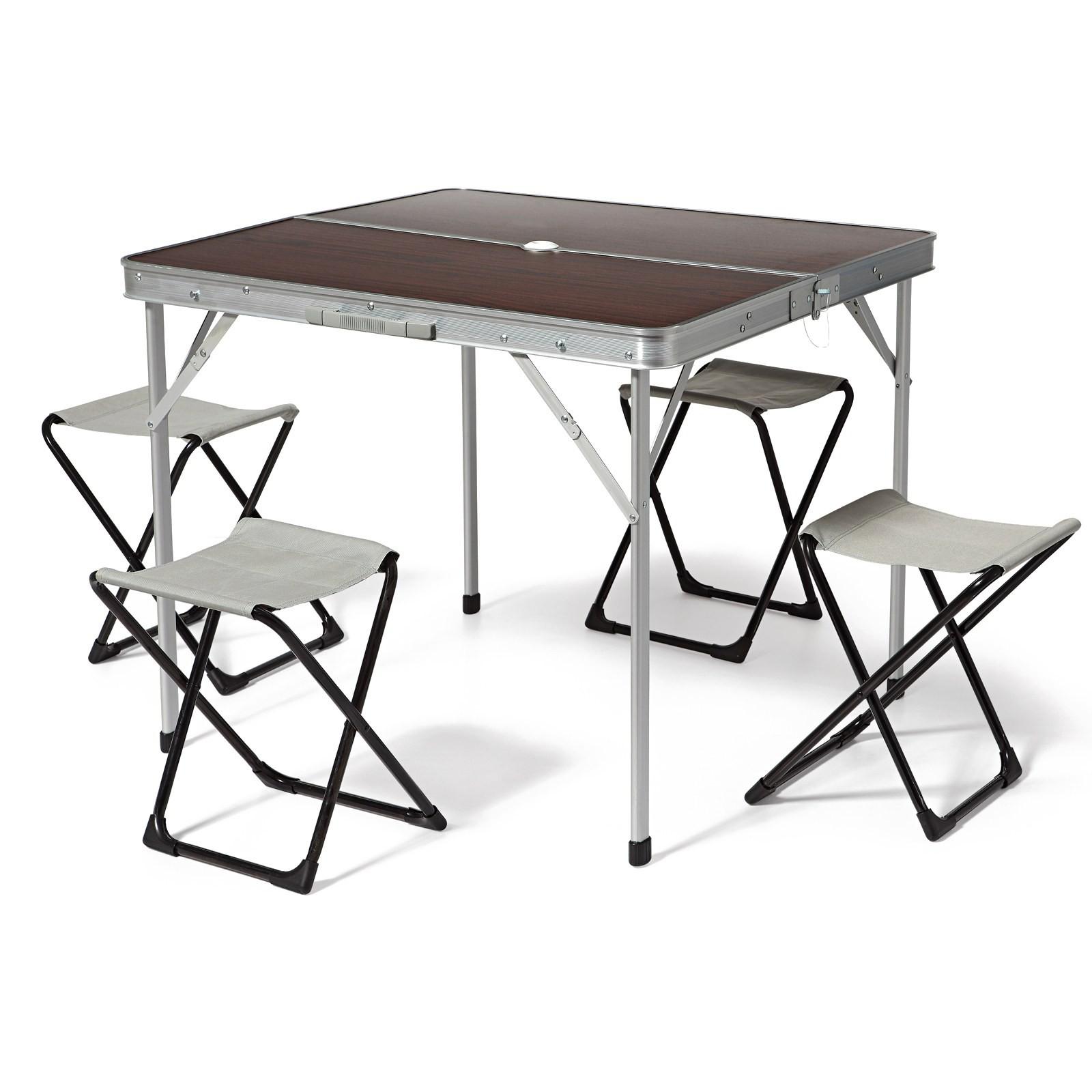 Tavolo Pieghevole Alluminio Campeggio.Tavolo Tavolino Pieghevole In Alluminio Con Sedie Picnic Da